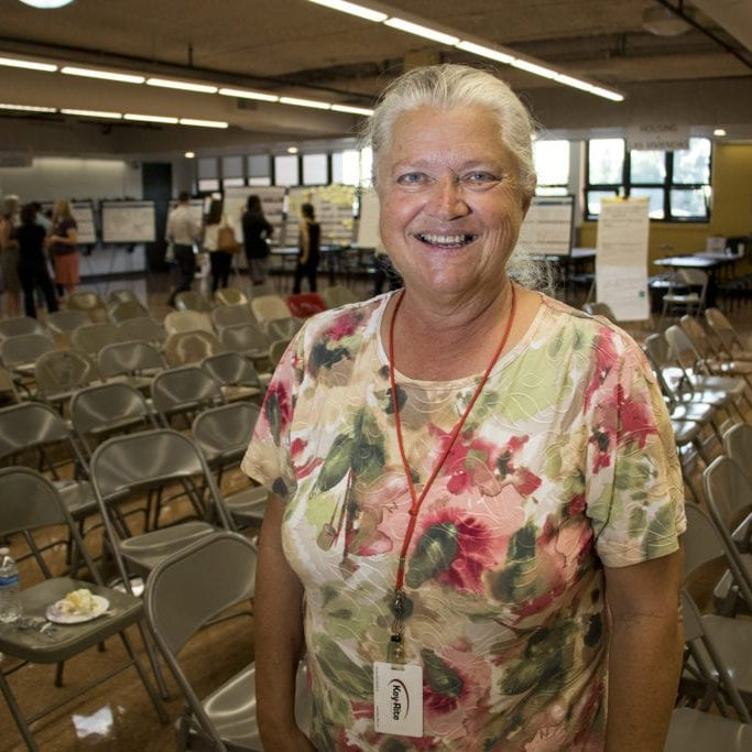 Donna M. Garnett poses for a portrait. A meeting for comments on an early draft of the Far Northeast Area Plan at the Montbello campus cafeteria, July 12, 2018. (Kevin J. Beaty/Denverite)